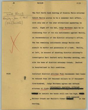 Primary view of object titled '[News Script: Maclin]'.