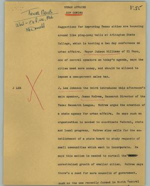 Primary view of object titled '[News Script: Urban affairs]'.