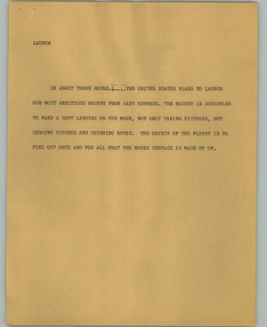 Primary view of object titled '[News Script: Launch]'.