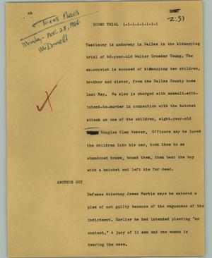 Primary view of object titled '[News Script: Young trial]'.