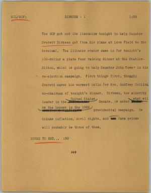 Primary view of object titled '[News Script: Dirksen]'.