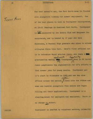 Primary view of object titled '[News Script: Youthpower]'.