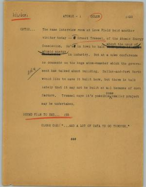 Primary view of object titled '[News Script: Atomic]'.