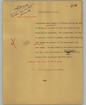 Primary view of object titled '[News Script: Tiger Teague]'.