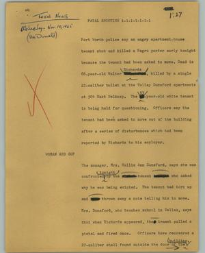 Primary view of object titled '[News Script: Fatal shooting]'.