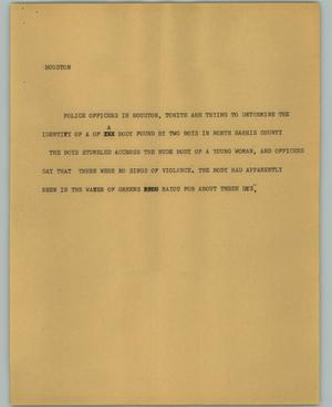 Primary view of object titled '[News Script: Houston]'.