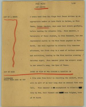 Primary view of object titled '[News Script: Miss Tejas]'.