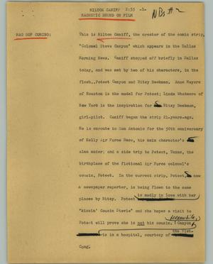 Primary view of object titled '[News Script: Milton Caniff]'.