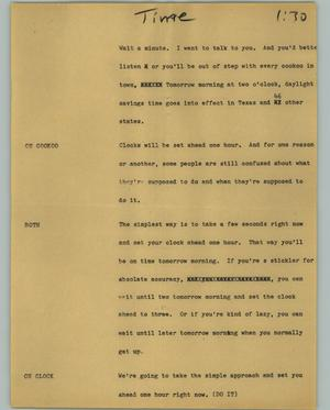 Primary view of object titled '[News Script: Time]'.