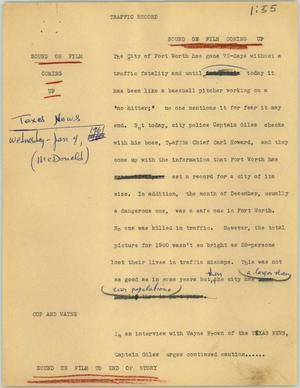 Primary view of object titled '[News Script: Traffic record]'.