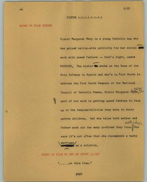 Primary view of object titled '[News Script: Sister]'.