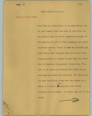 Primary view of object titled '[News Script: Santa school]'.