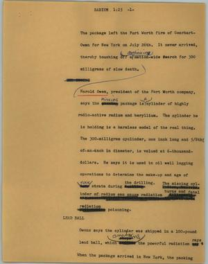 Primary view of object titled '[News Script: Radium]'.