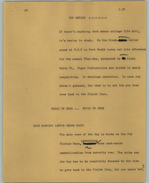 Primary view of object titled '[News Script: TCU Antics]'.