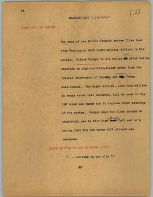 Primary view of object titled '[News Script: Transit head]'.