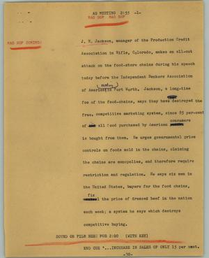 Primary view of object titled '[News Script: AG meeting]'.