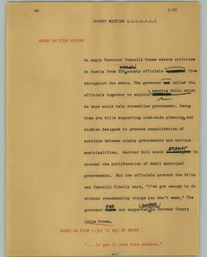 Primary view of object titled '[News Script: County meeting]'.