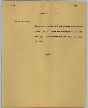 Primary view of object titled '[News Script: Turkeys]'.