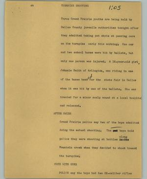Primary view of object titled '[News Script: Turnpike shooting]'.
