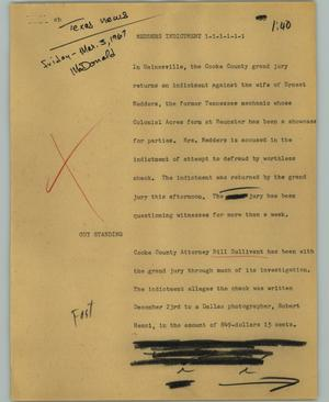 Primary view of object titled '[News Script: Medders indictment]'.