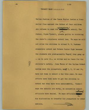 Primary view of object titled '[News Script: Truancy case]'.