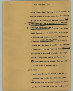 Primary view of object titled '[News Script: Fair Park Jazz]'.