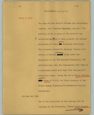 Primary view of object titled '[News Script: TCU meeting]'.