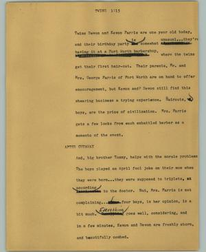 Primary view of object titled '[News Script: Twins]'.