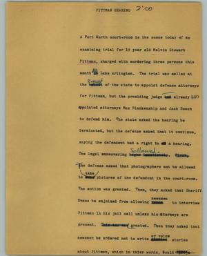 Primary view of object titled '[News Script: Pittman hearing]'.