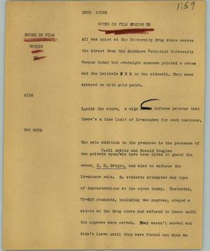 Primary view of object titled '[News Script: Drug store]'.