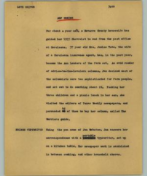 Primary view of object titled '[News Script: Love editor]'.
