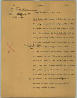 Primary view of object titled '[News Script: Crull resigns]'.