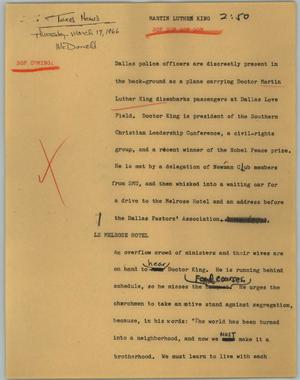 Primary view of object titled '[News Script: Martin Luther King]'.