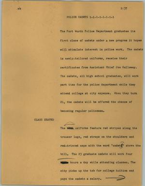 Primary view of object titled '[News Script: Police cadets]'.