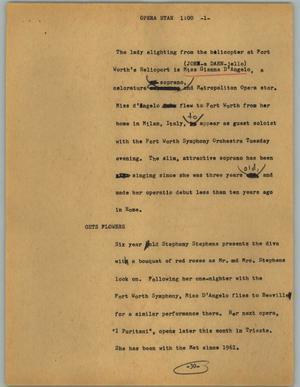 Primary view of object titled '[News Script: Opera star]'.