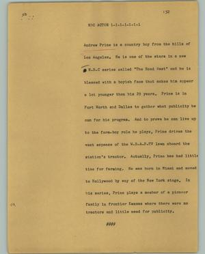 Primary view of object titled '[News Script: NBC Actor]'.