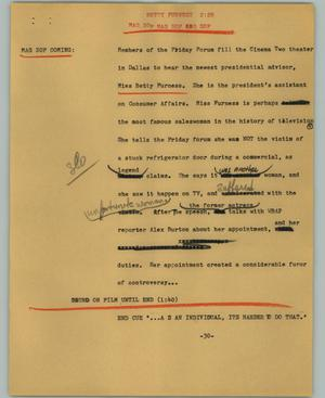 Primary view of object titled '[News Script: Betty Furness]'.