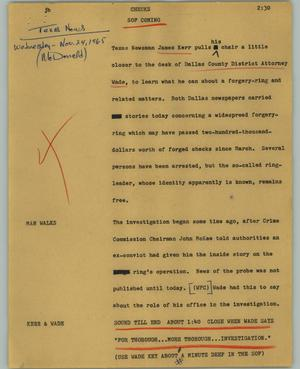 Primary view of object titled '[News Script: Checks]'.