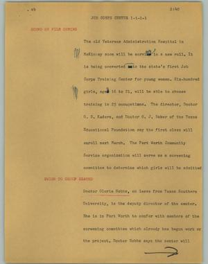 Primary view of object titled '[News Script: Job corps center]'.