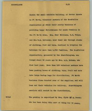 Primary view of object titled '[News Script: Goodfellows]'.