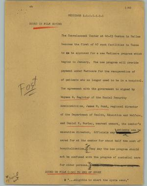 Primary view of object titled '[News Script: Medicare]'.