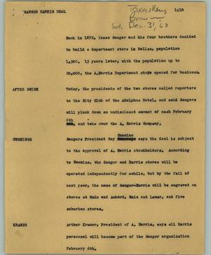 Primary view of object titled '[News Script: Sanger Harris deal]'.