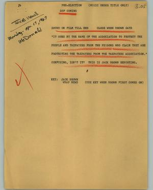 Primary view of object titled '[News Script: Pre-election]'.