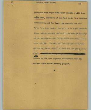Primary view of object titled '[News Script: Canteen (News brief)]'.