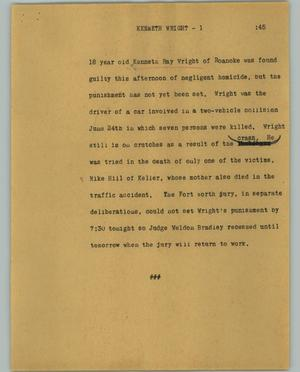 Primary view of object titled '[News Script: Kenneth Wright]'.