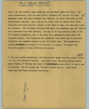 Primary view of object titled '[News Script: TCU research fundraiser]'.