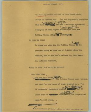 Primary view of object titled '[News Script: Rolling stones]'.