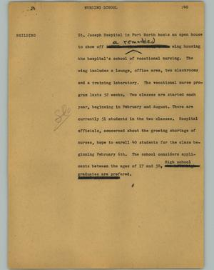 Primary view of object titled '[News Script: Nursing school]'.