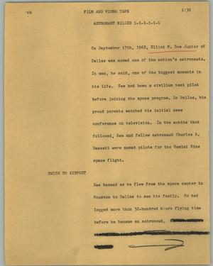 Primary view of object titled '[News Script: Astronaut killed]'.