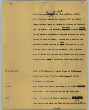 Primary view of object titled '[News Script: Nazis]'.